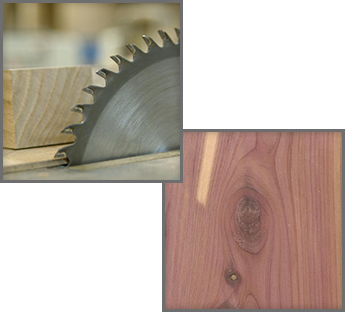 Saw Blade and Wood & Aromatic Red Cedar
